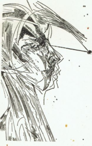 Study for a head, ink 1974 (50x70 cm.)