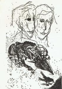 Homage for Ernesto Treccani, acquafòrte 1975 (160x250 mm.) Omaggio a Ernesto Treccani, acquafòrte 1975 (mm. 160x250)