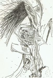 Study for « Don Chisciotte », ink 1973 (50x70 cm.)